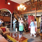 Delegates at large in the Nuns' Library at Stanbrook Abbey